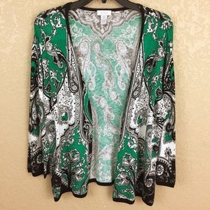 Chico's Size 2 Green Paisley Cardigan SweaterE64/2
